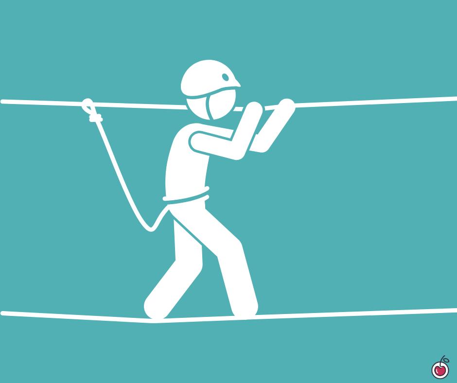 omino in equilibrio su un filo, metafora del work life balance